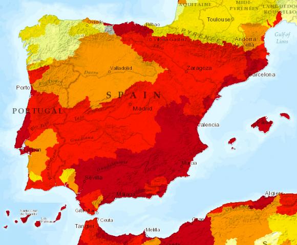 países con mayor estrés hídrico_España