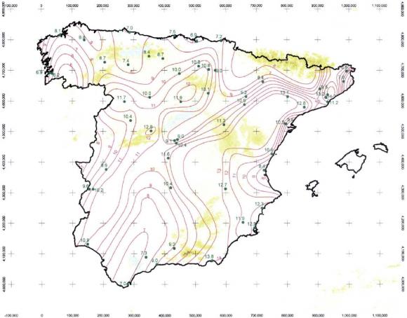 Intensidad de Precipitacion isolineas
