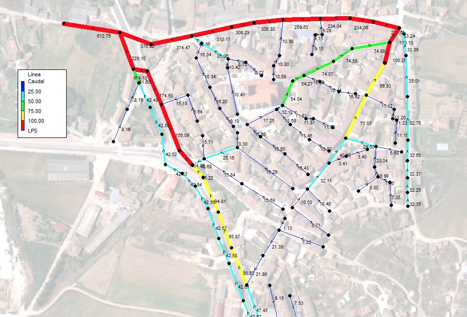 Modelización de red de saneamiento en población de Burgos