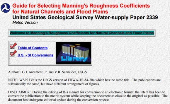 seleccionar el coeficiente de rugosidad de Manning en cauces naturales_fhwa